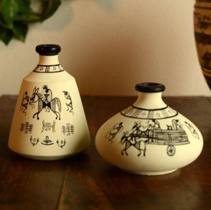 Terracotta Warli Handpainted Pots White