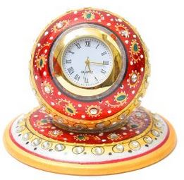 Artist Haat Ganesh Chaturthi Gift Marble Table Watch Clock
