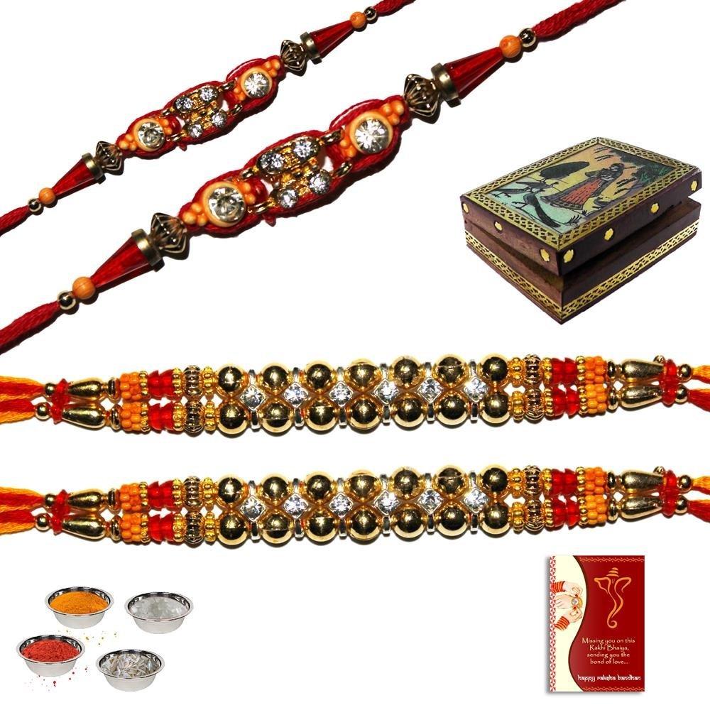 4 multicolored rakhis set