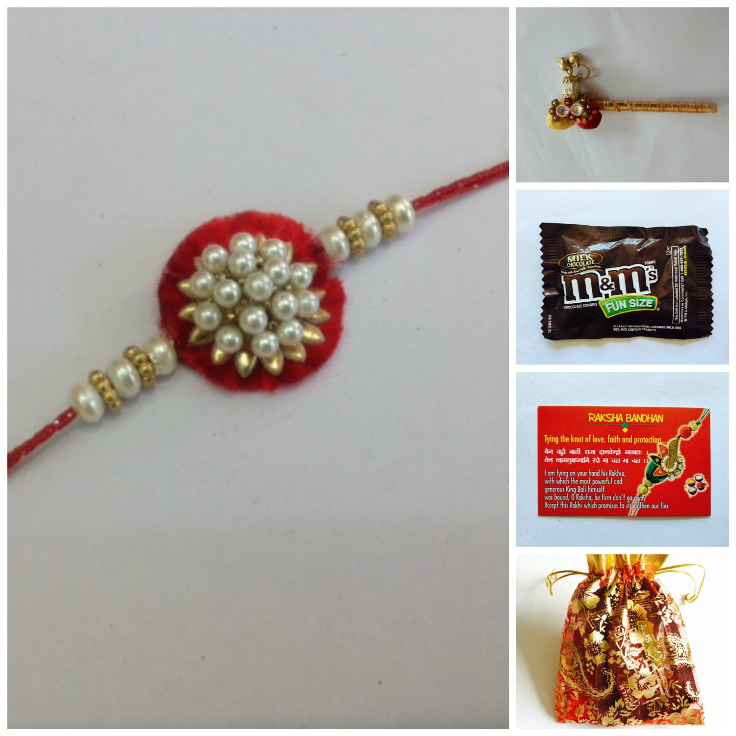 Beautiful rakhi pack with card and chocolate