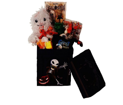 Candy gift basket with plush ghost toy