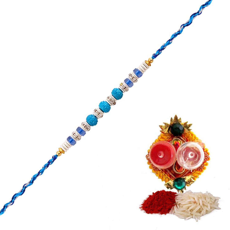 Dashing blue color beads thread rakhi