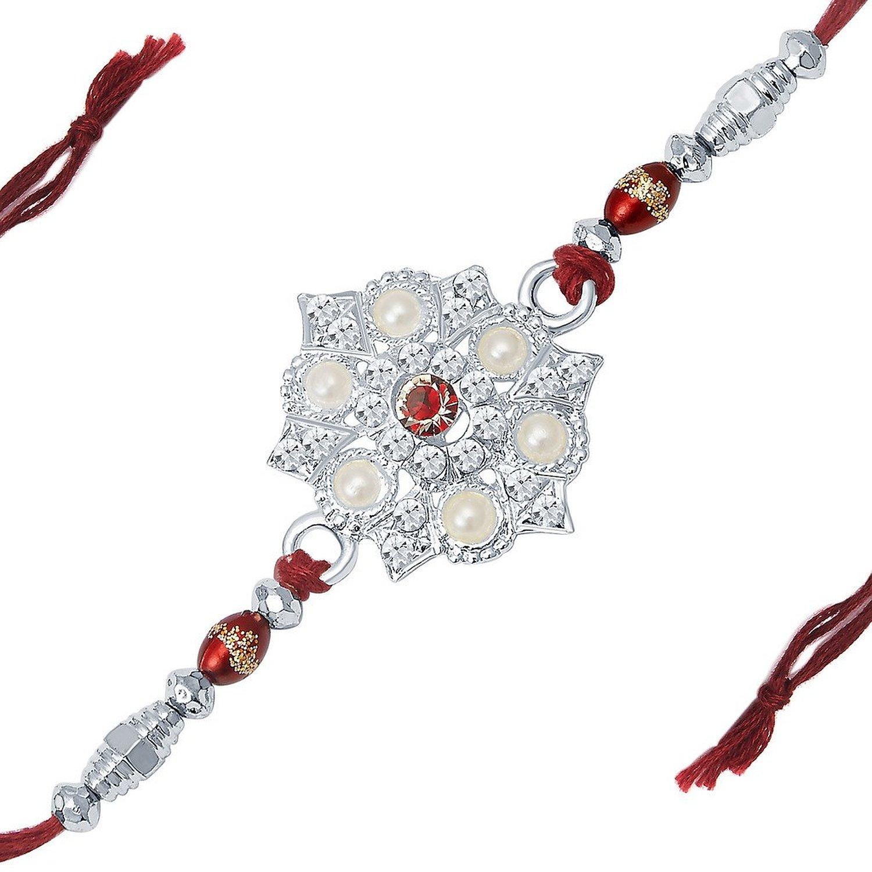 Elegant Rhodium Plated Designer Pearl Rakhi