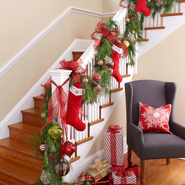 Homemade stockings along staircase