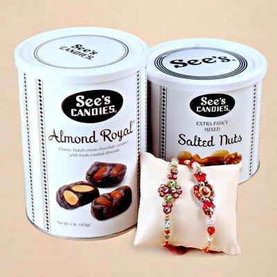 IGP Stone rakhi chocolates and nuts