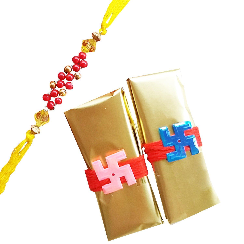 Maroon beads and yellow thread rakhi