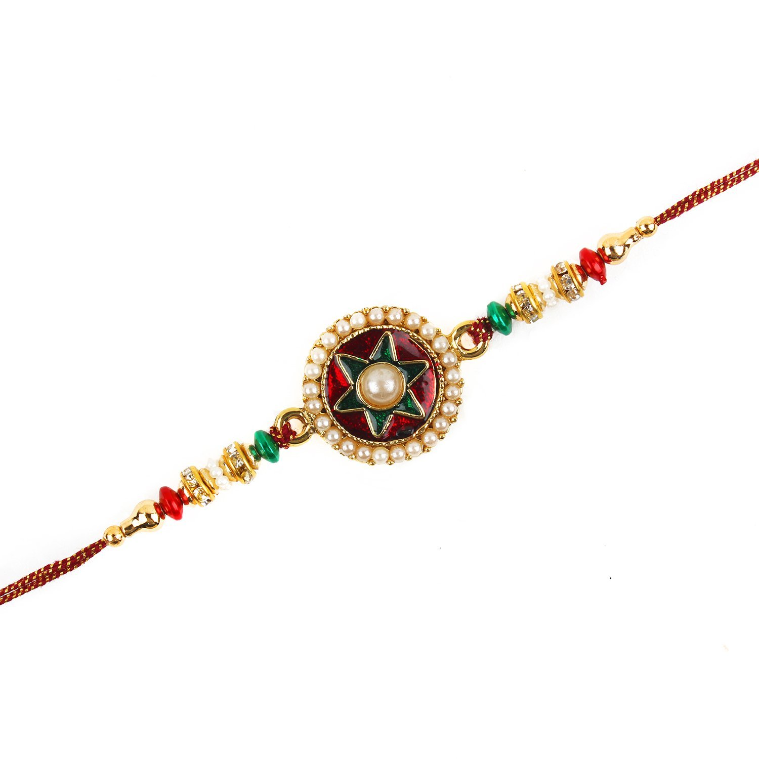 Multi-colored rakhi with traditional design