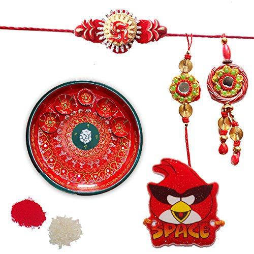 Red color floral design set