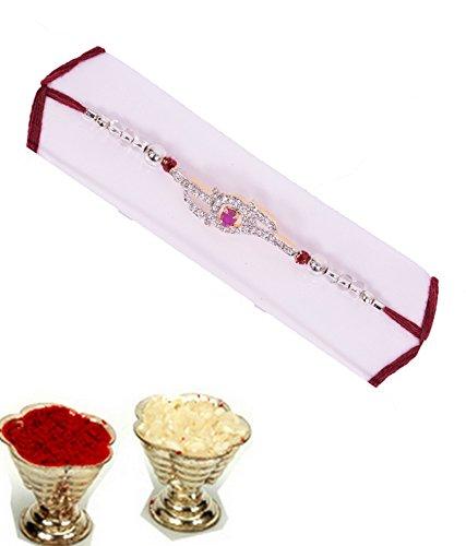 Silver plated pink stone rakhi