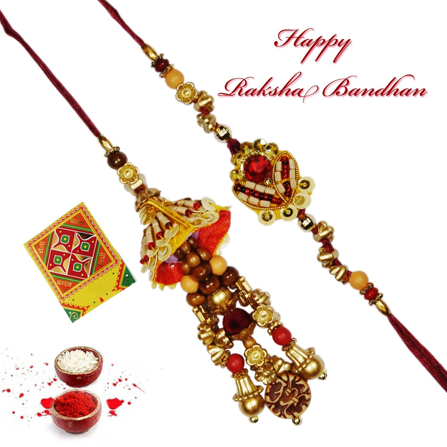 Rajlaxmi Wooden beads rakhi set