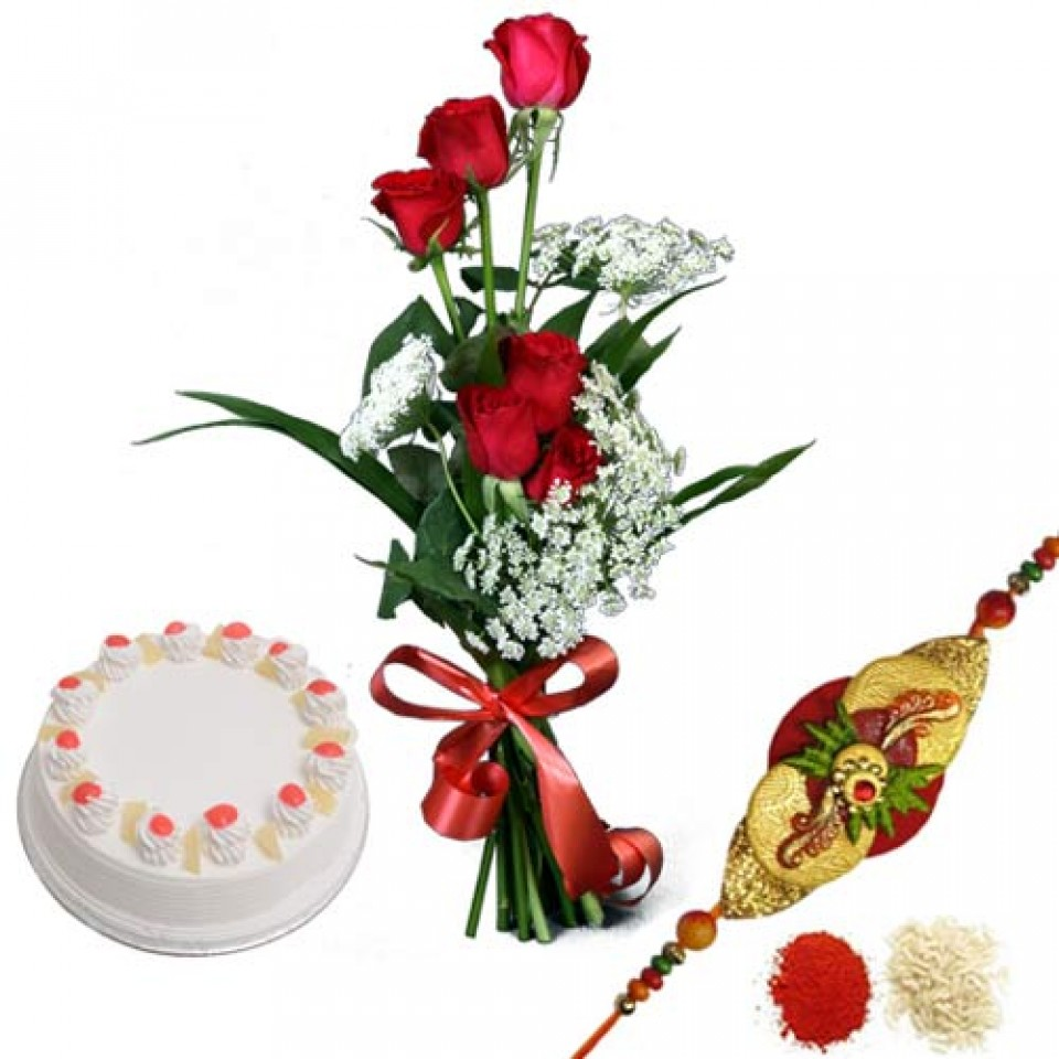 Rakhi with flowers and cakes