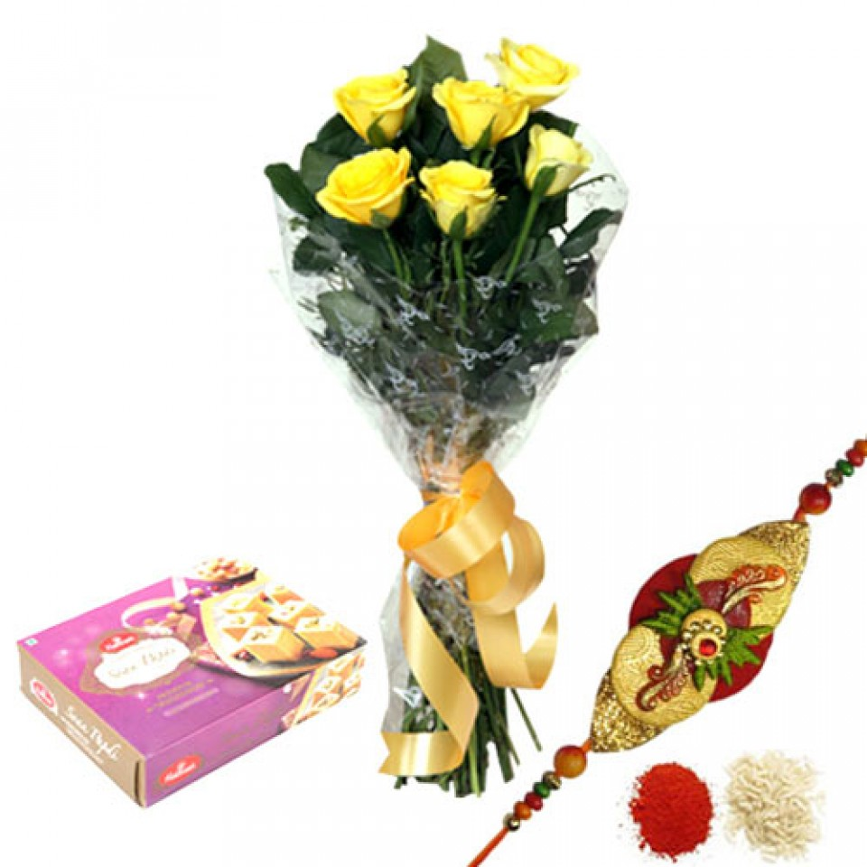 Rakhi with flowers and sweets