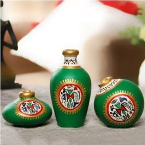 Terracotta Warli Handpainted Pots Bright Green