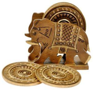 Art Elephant Design Wooden Tea Coaster