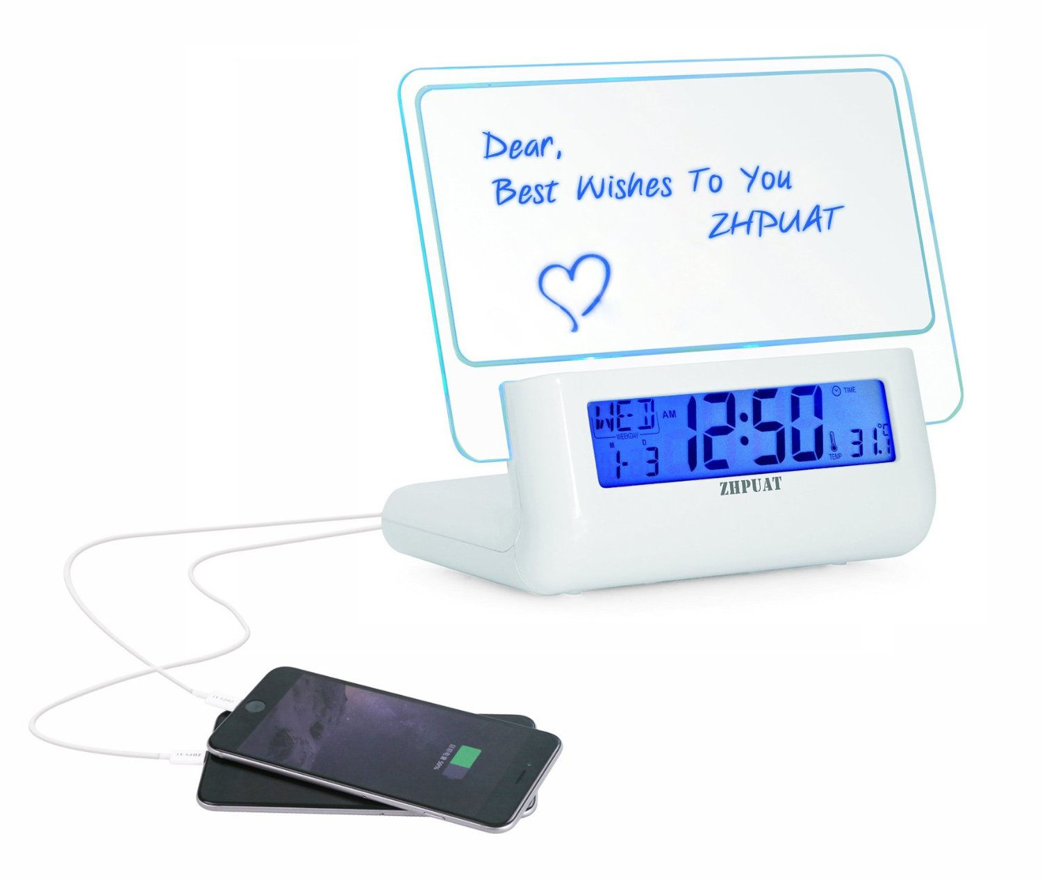 Message board alarm clock