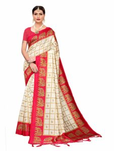Red and white saree