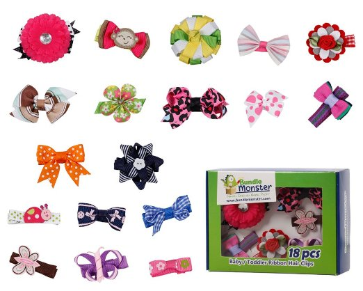 bundle-monster-18pc-girl-baby-toddler-ribbon-bows-flowers-mixed-design-hair-clip