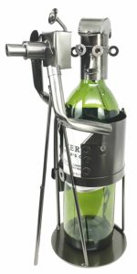 Professional Photographer With Camera Tripod In Action Hand Made Steel Metal Wine Bottle