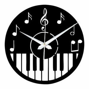 Wood Piano Music Wall Clock