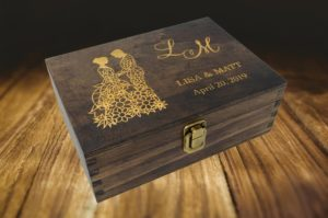Personalised engraved wooden box