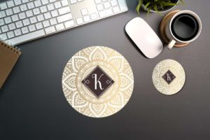 Elegant Gold Monogramed Mousepad and Coaster Set