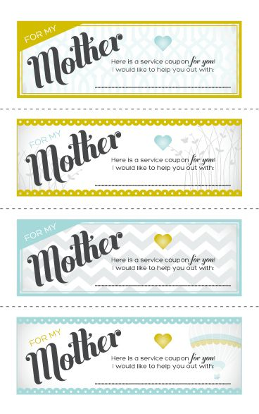 Craft some coupons for your mother