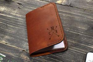 A leather passport cover