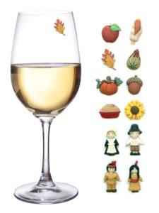 Thanksgiving wine glass charm set
