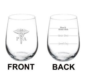 A stem less wine glass