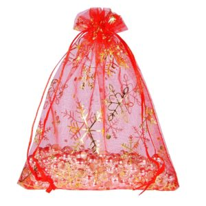Red Snowflake Organza Gift Bag