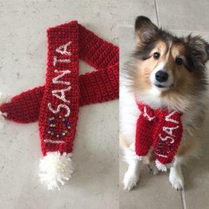 Santa dog scarf