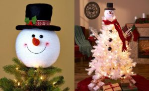 Snowman top hat Christmas tree toppers