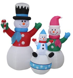 Yard decoration with inflatable snowmen family