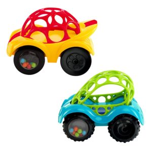 A set of rattle and roll cars for his playtime