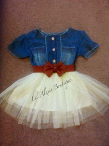 A tutu and denim shirt pair