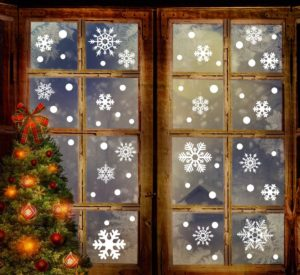 Decorate your windows with baubles, bells and snowflakes