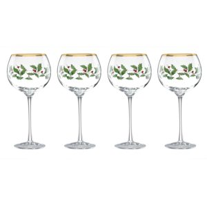Holly & berries balloon wine glasses