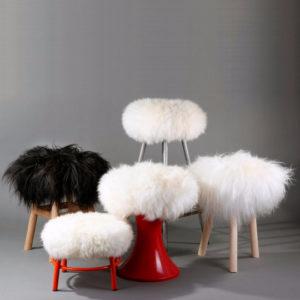 Sheepskin stool covers