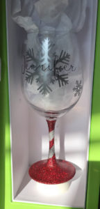 Snowflake printed customized wine glasses