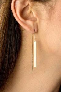 Thread gold bar earrings