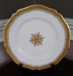 White and gold vintage salad plates