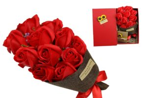 Artificial Red Roses Gift Basket