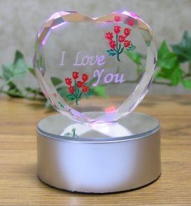 LED Light up Glass Heart