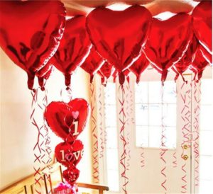 Red Heart Helium Balloons
