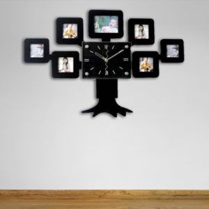 A wall clock with family photos