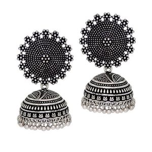 Silver Plated Oxidized Jhumkas