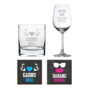Whiskey and Wine glasses with Coasters