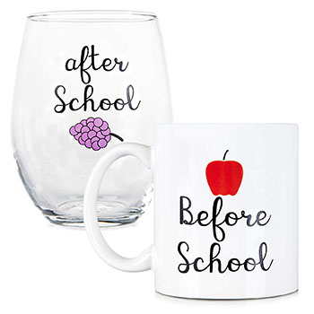 Coffee Mug and Stemless Wine Glass Set - best gifts for professors