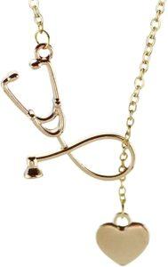 Firsteel Medicine Stethoscope Pendant Necklace Heart
