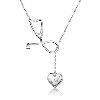 Firsteel Medicine Stethoscope Pendant Necklace Heart - gifts for doctors